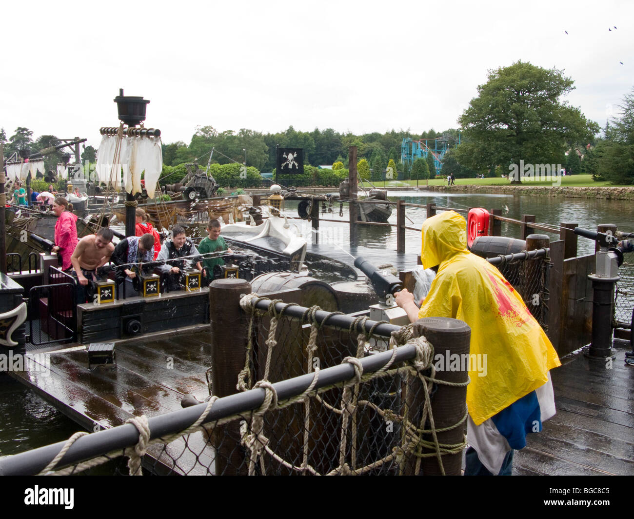 Water fights at Alton Towers, UK - Stock Image