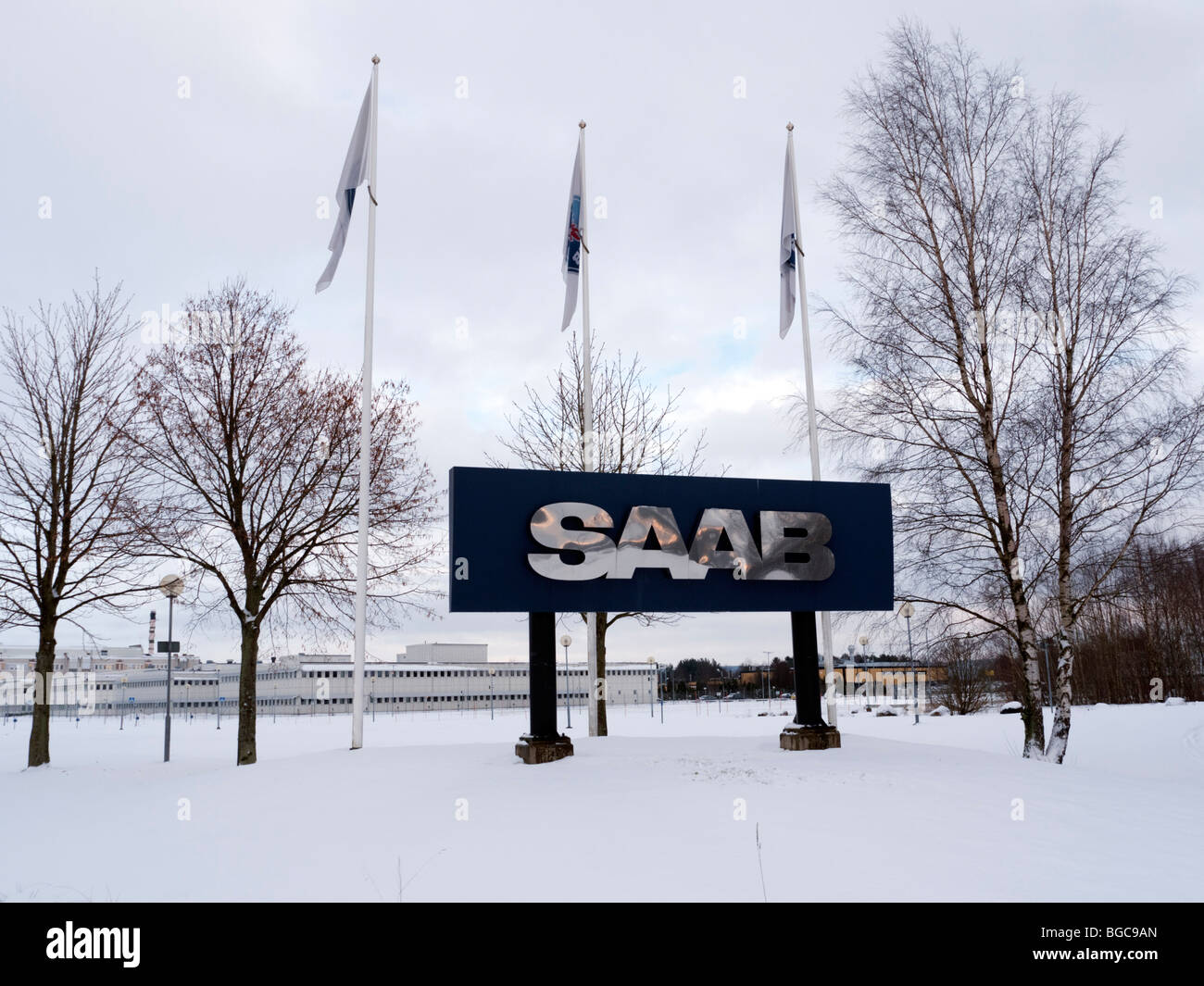 Views of Saab car factory at base in Trollhattan in Sweden - Stock Image