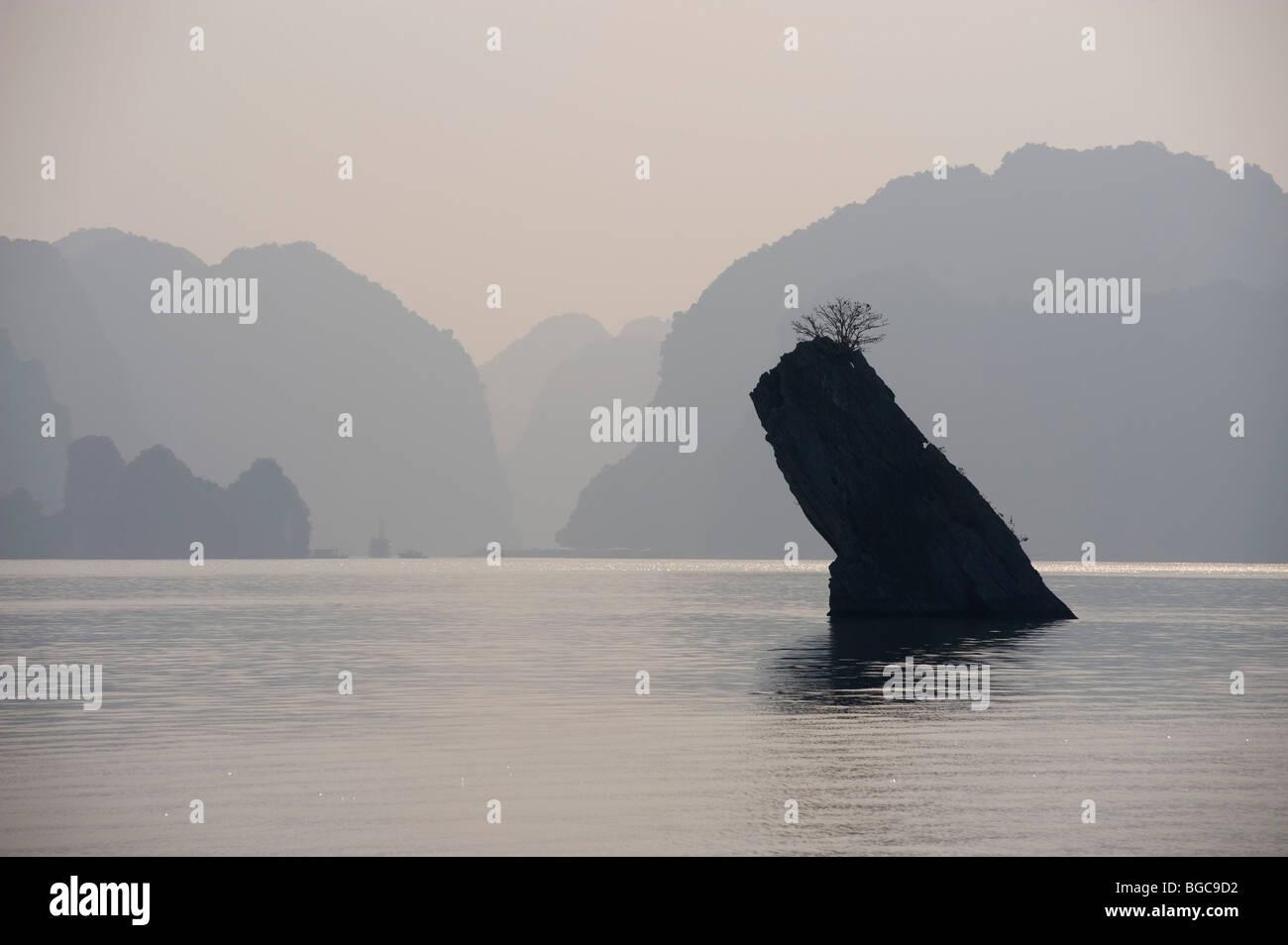 Rock formation Halong Bay, Vietnam - Stock Image