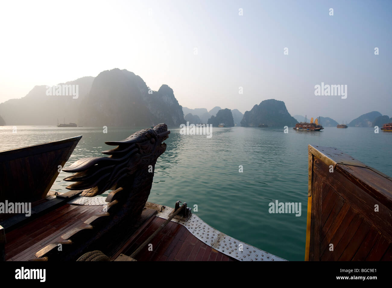 Cruising on a wooden Junk boat, Halong Bay Vietnam - Stock Image