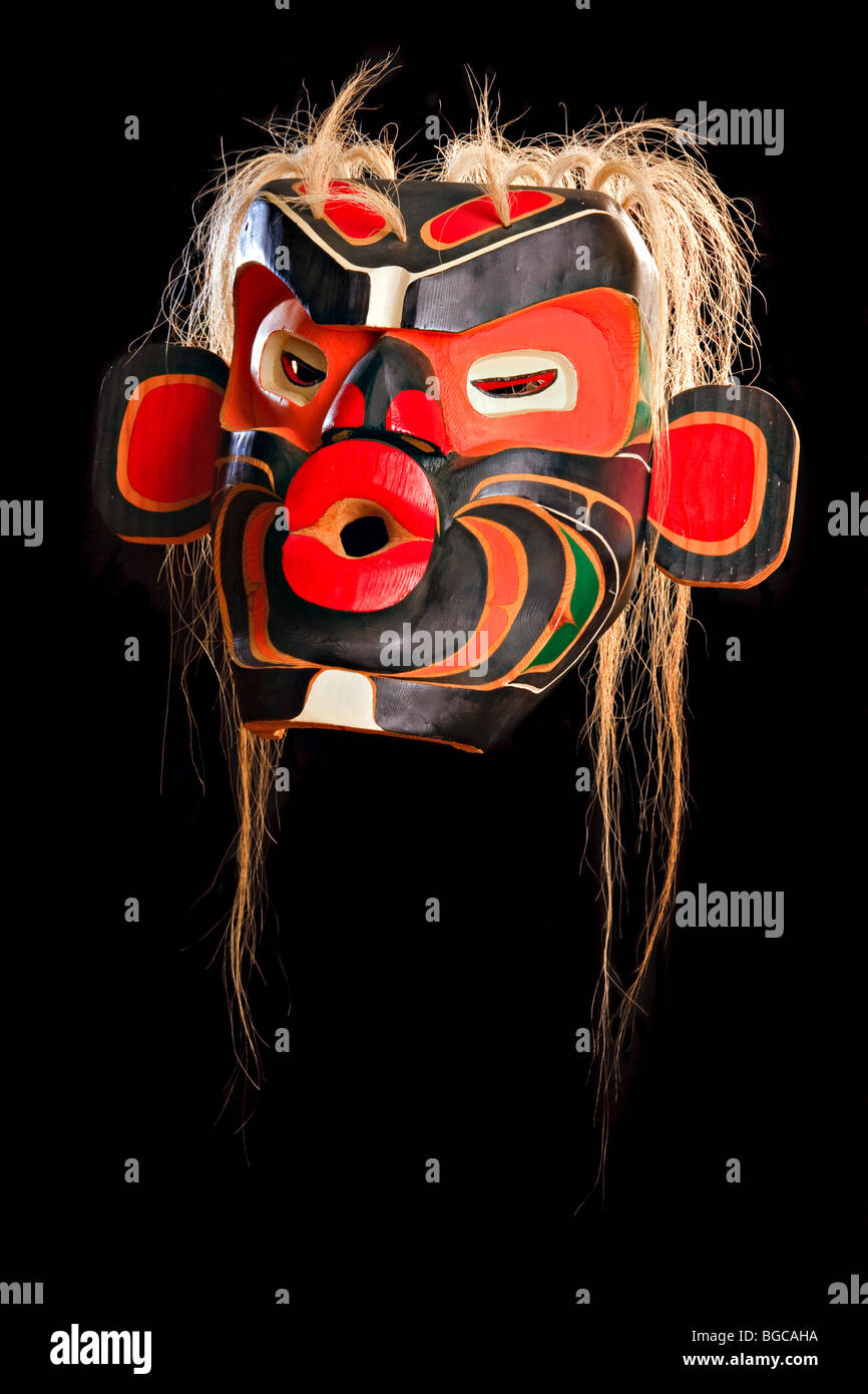 Mask, Native First Nation art, original West Coast native art, Just Art Gallery, Port McNeill, Northern Vancouver - Stock Image