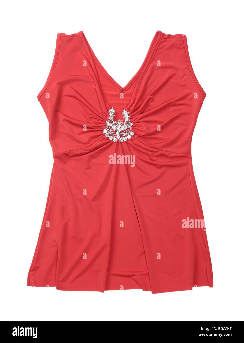 Red fancy sleeveless shirt isolated on white background - Stock Image