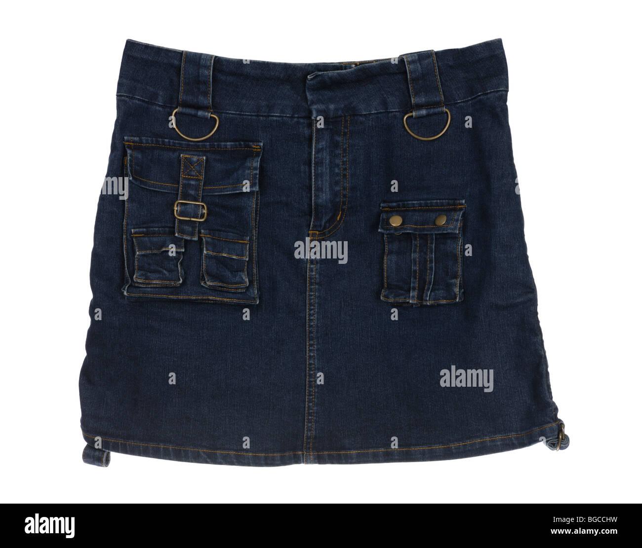 Dark blue short jeans skirt isolated on white background - Stock Image