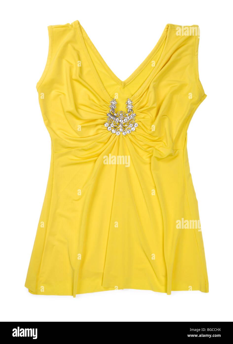 Yellow fancy sleeveless shirt isolated on white background - Stock Image