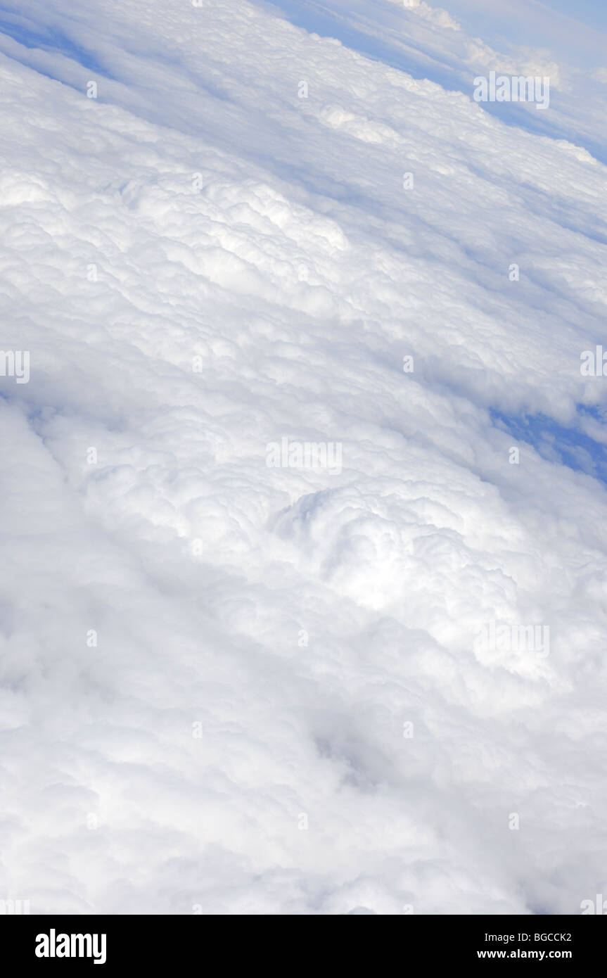 White clouds view from above from an airplane - Stock Image