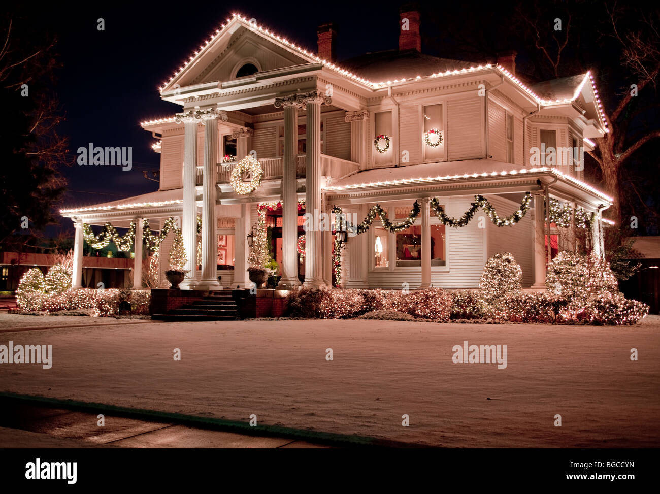 christmas lights decorating a mansion on historic swiss avenue in dallas texas usa stock
