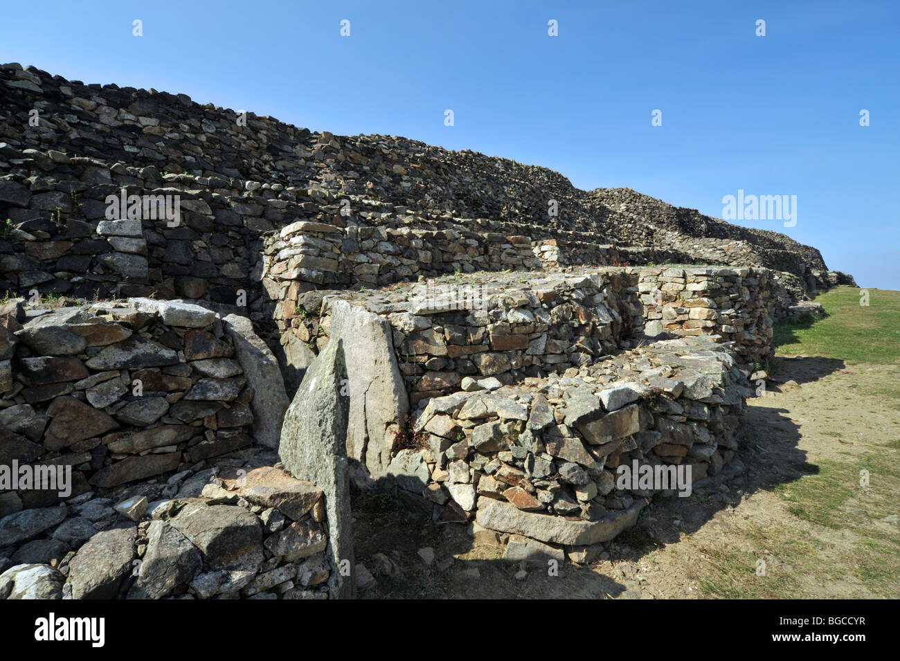 The Cairn of Barnenez / Barnenez Tumulus / Mound, a Neolithic monument near Plouezoc'h, Finistère, Brittany, - Stock Image
