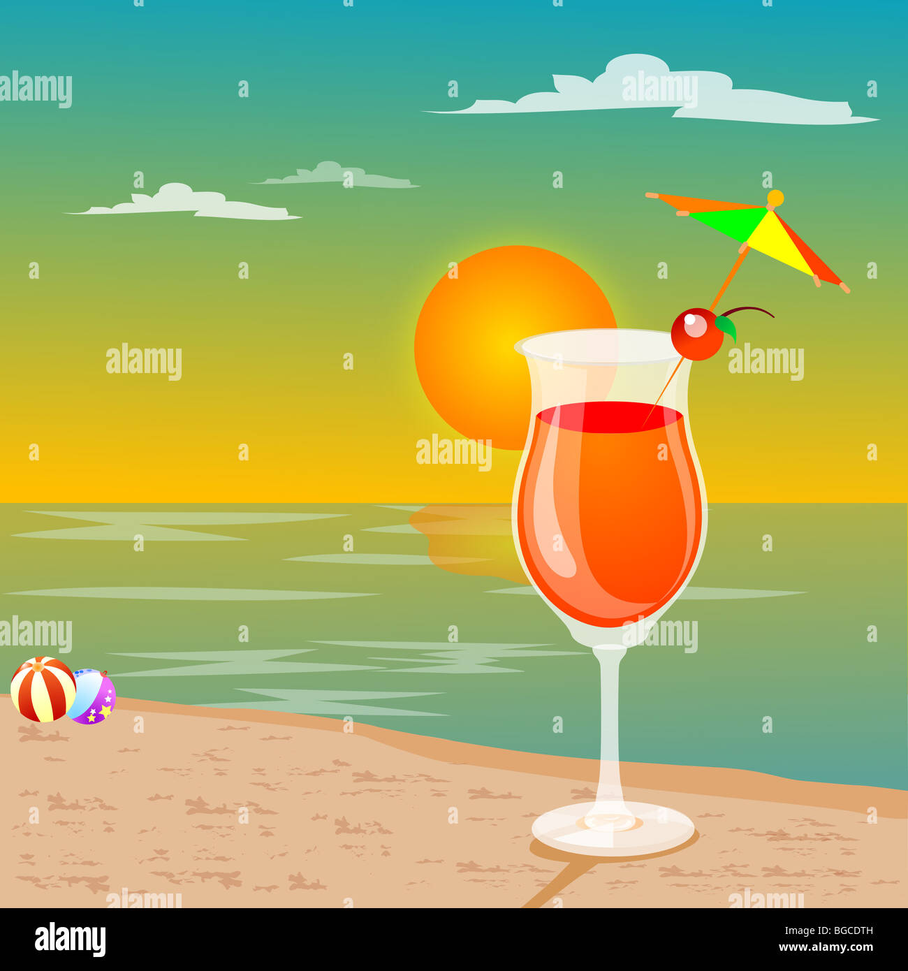 leisures at beach - drink, beach ball, view of sun - Stock Image