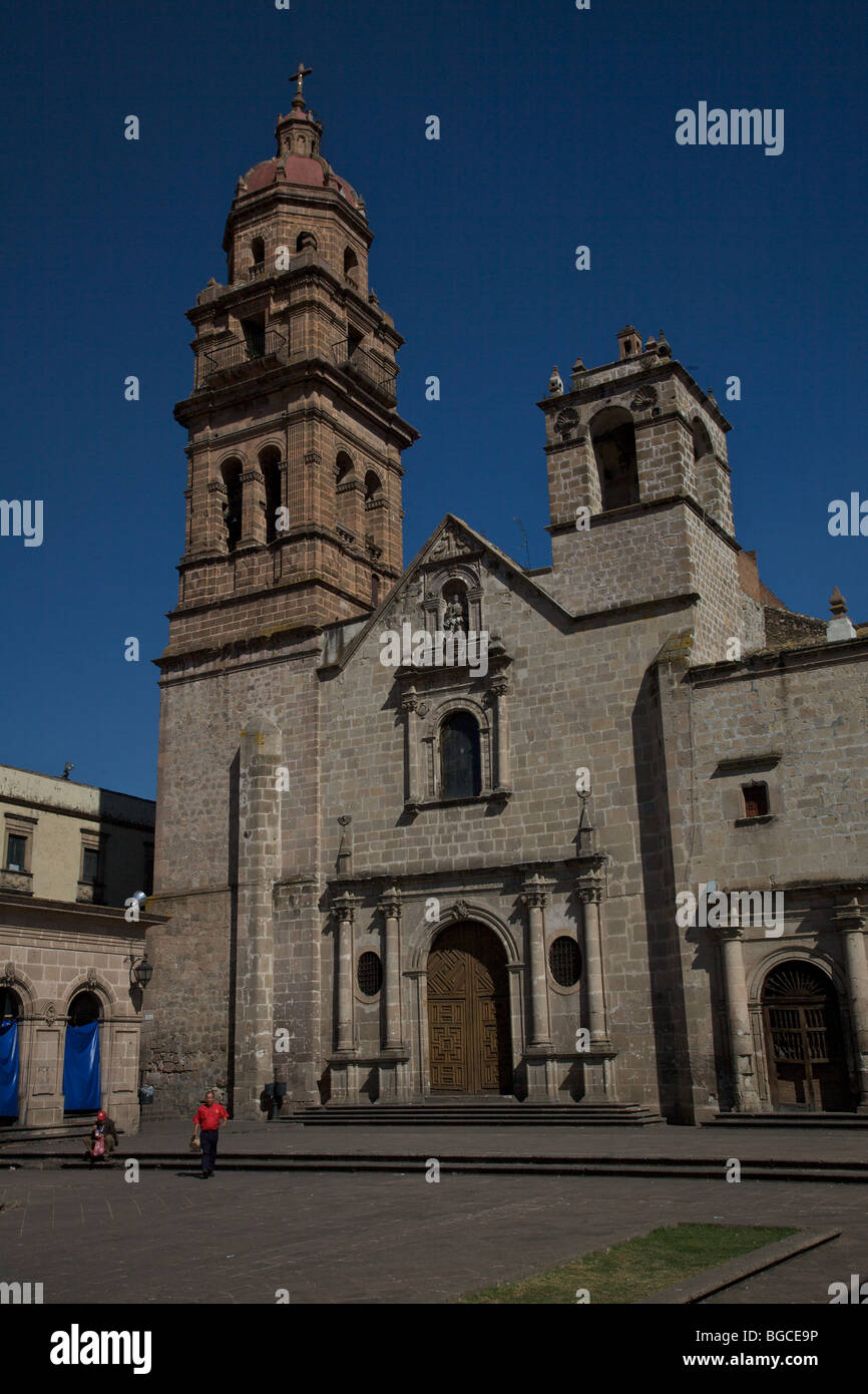 View of the Templo y Ex-Convento de San Augustin in Morelia, Michoacan state, Mexico - Stock Image