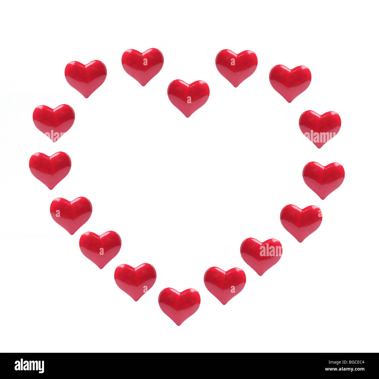 Red Love Hearts - Stock Image