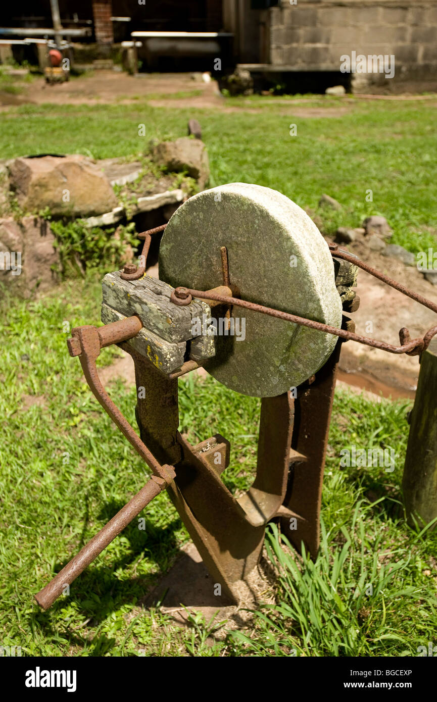 Antique sharpening whett stone, fields near the Marianhill Monastry. Thousand Hills, Durban, South Africa - Stock Image