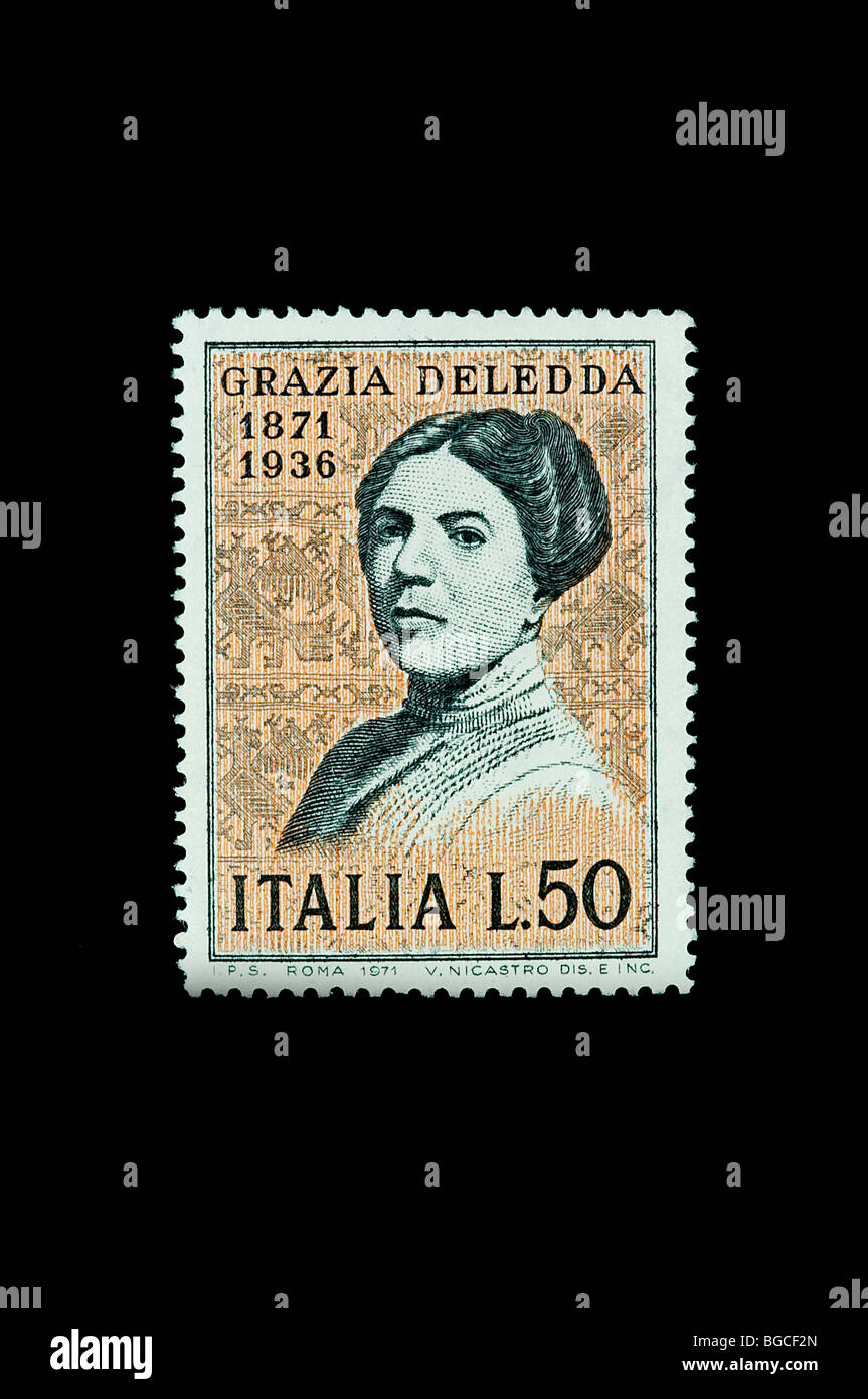 Grazia Deledda  Writer (1871-1936) on 1971  italian commemorative stamp - Stock Image