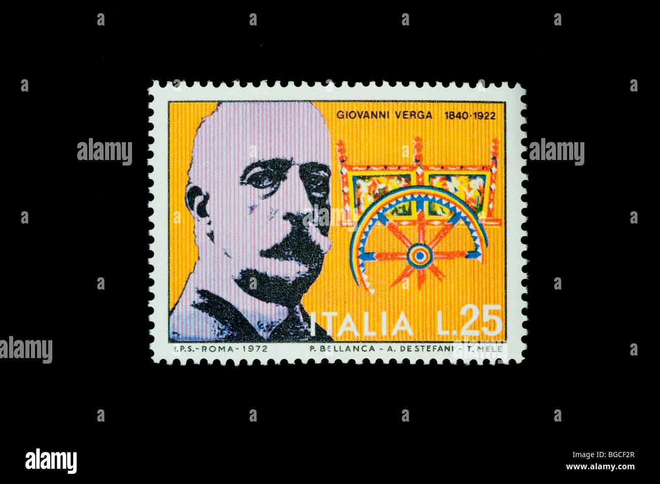 Giovanni Verga  writer on 1972  italian commemorative stamp - Stock Image