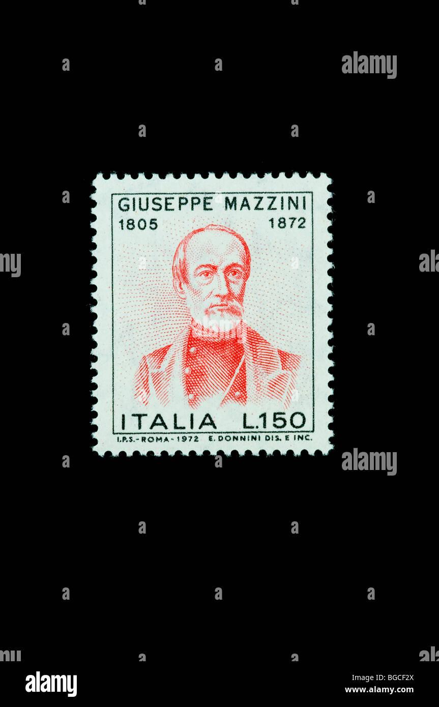 Giuseppe Mazzini politician and philosopher on 1972  italian commemorative stamp - Stock Image