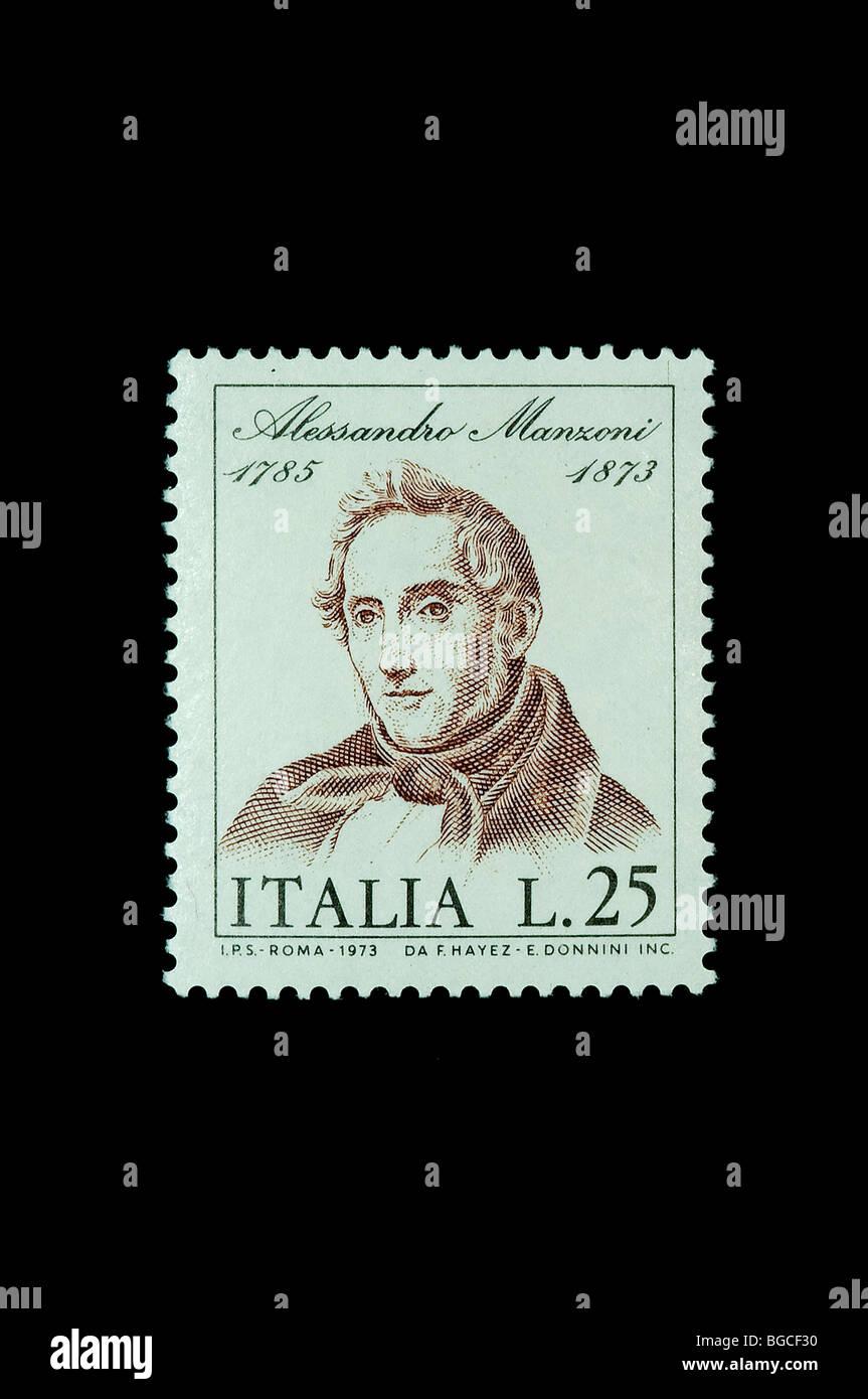 Alessandro Manzoni writer on 1973 italian commemorative stamp - Stock Image