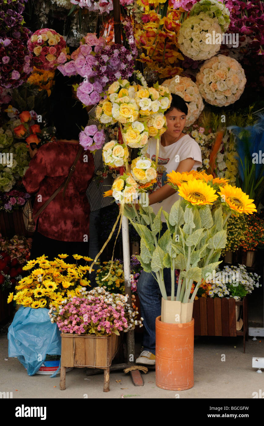 Thailand; Bangkok; Flower Stall at Chatuchak Weekend Market - Stock Image