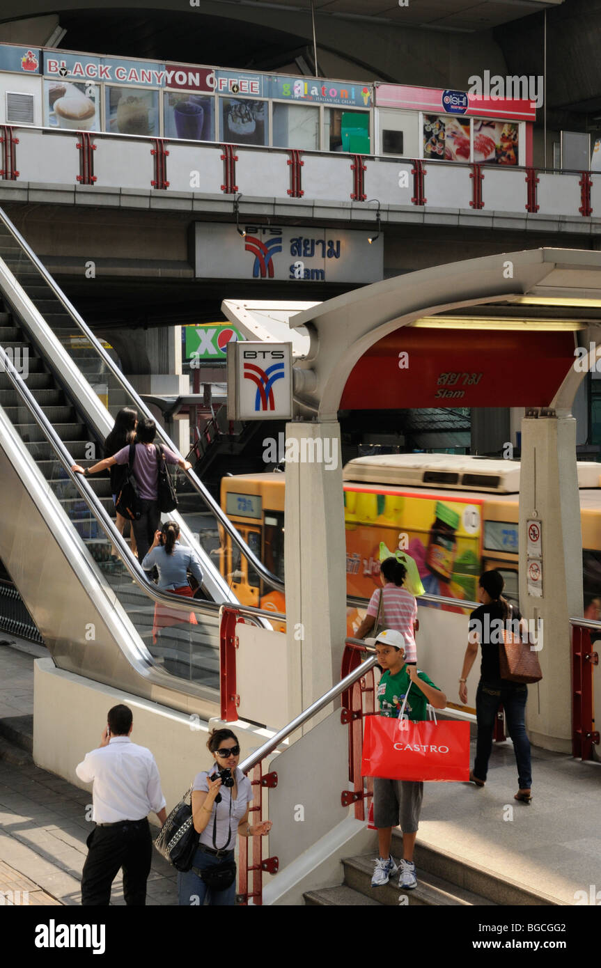 Thailand; Bangkok; Entrance and escalator  to Siam BTS Skytrain Station Stock Photo