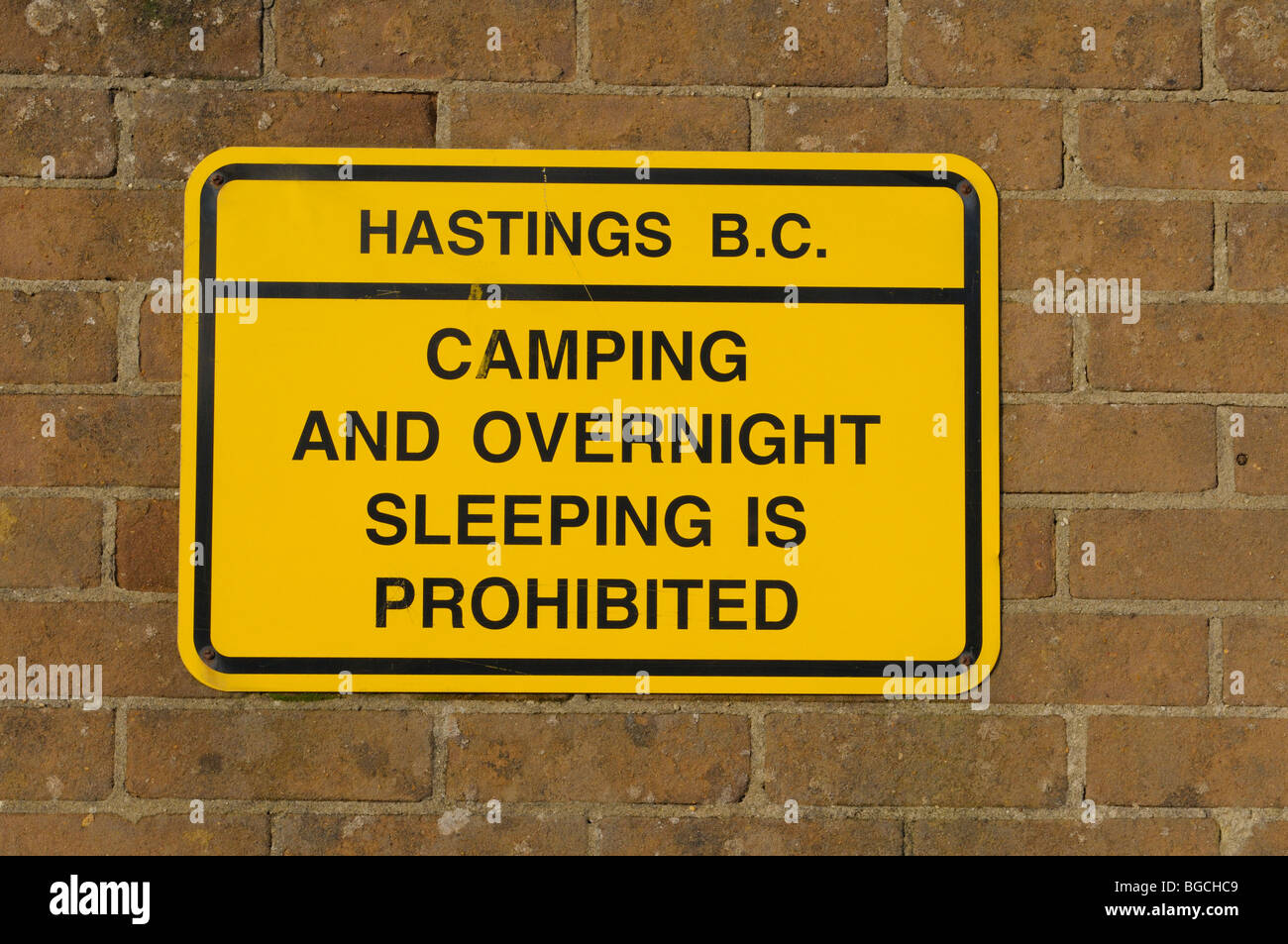 Sign banning camping at Hastings Sussex England UK - Stock Image