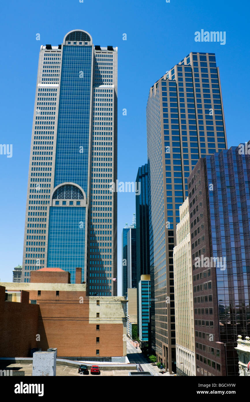Skyscrapers in downtown of Dallas - Stock Image