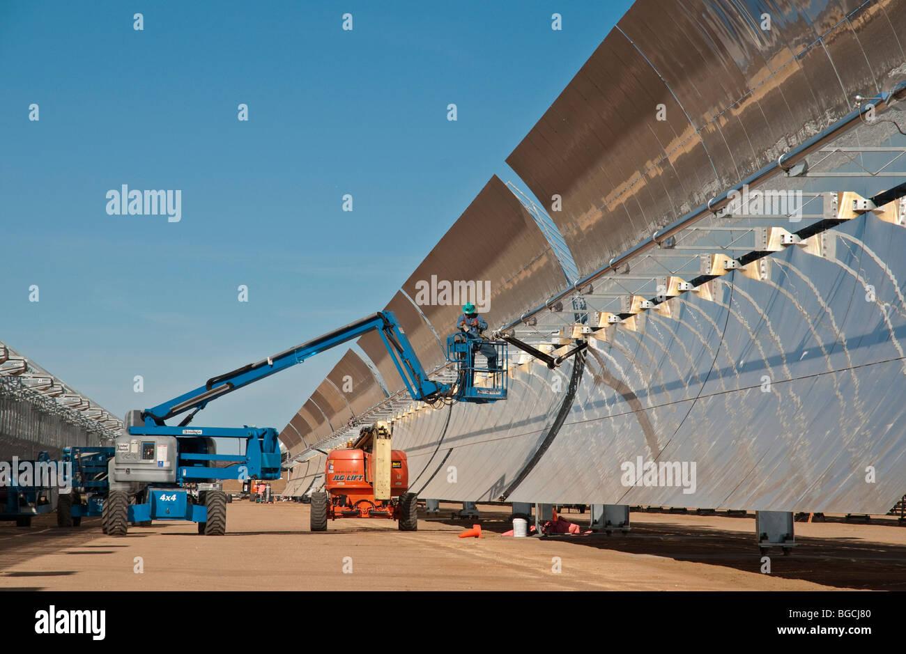 Solar Power Facility with Parabolic Mirrors - Stock Image