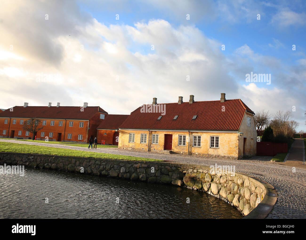 Kronborg Castle in Helsingør on the island of Zealand (Sjælland) in Denmark, house at the entrance - Stock Image