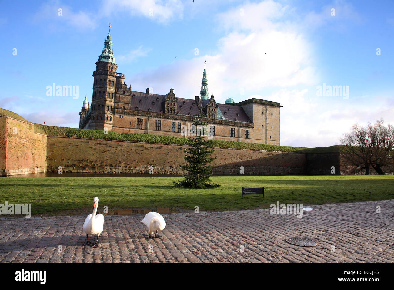 Kronborg Castle in Helsingør (in English also known as Elsinore) on the island of Zealand (Sjælland) in - Stock Image