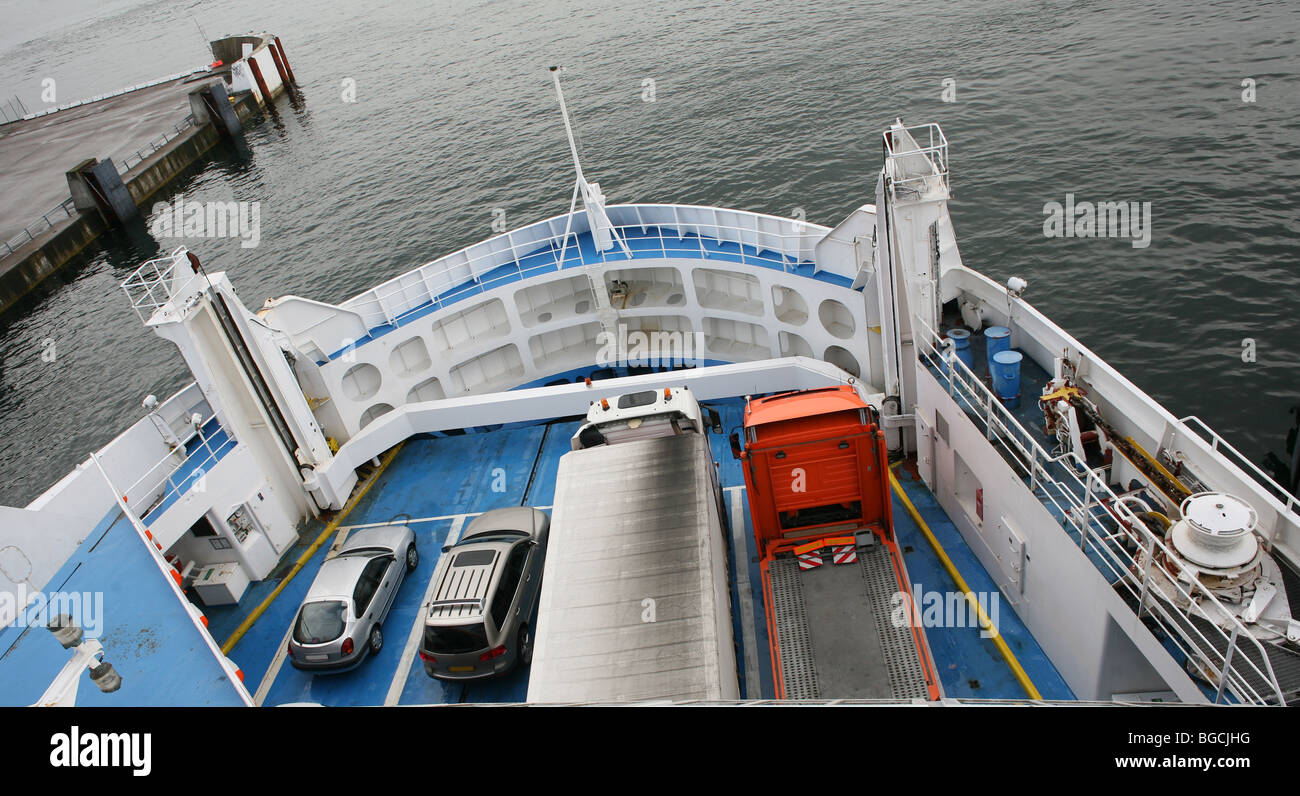 Ferry boat to Sweden in Helsingør  in English also known as Elsinore is the northeast coast of the island of - Stock Image