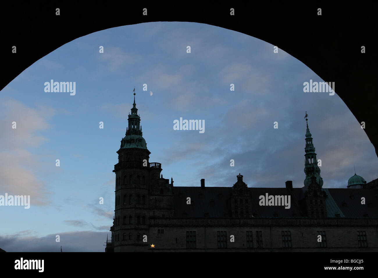 Silhouette of the Kronborg Castle in Helsingør (in English also known as Elsinore) on the island of Zealand - Stock Image