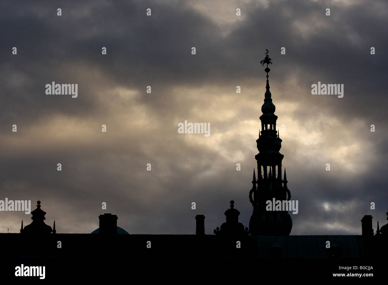 Silhouette of the Kronborg Castle in Helsingør (in English also known as Elsinore) on the island of Zealand Denmark Stock Photo