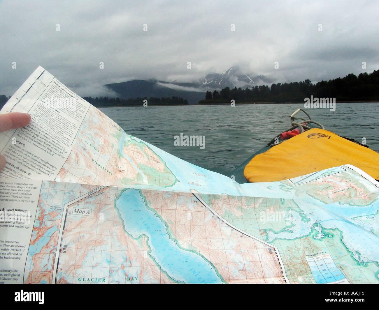 Kayak tour in the Glacier Bay National Park, Alaska, USA. - Stock Image