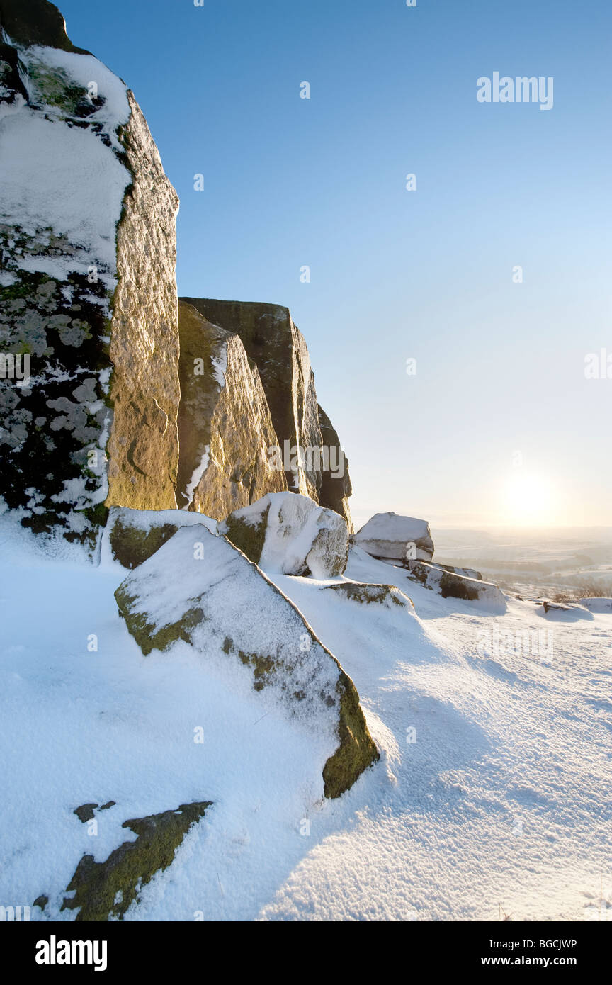 Winter Snow at Curbar Edge in the Peak District, Derbyshire, United Kingdom, Great Britain - Stock Image