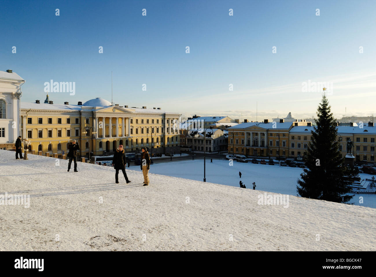 View from the Lutheran Cathedral towards the Senate Square in central Helsinki, Finland - Stock Image