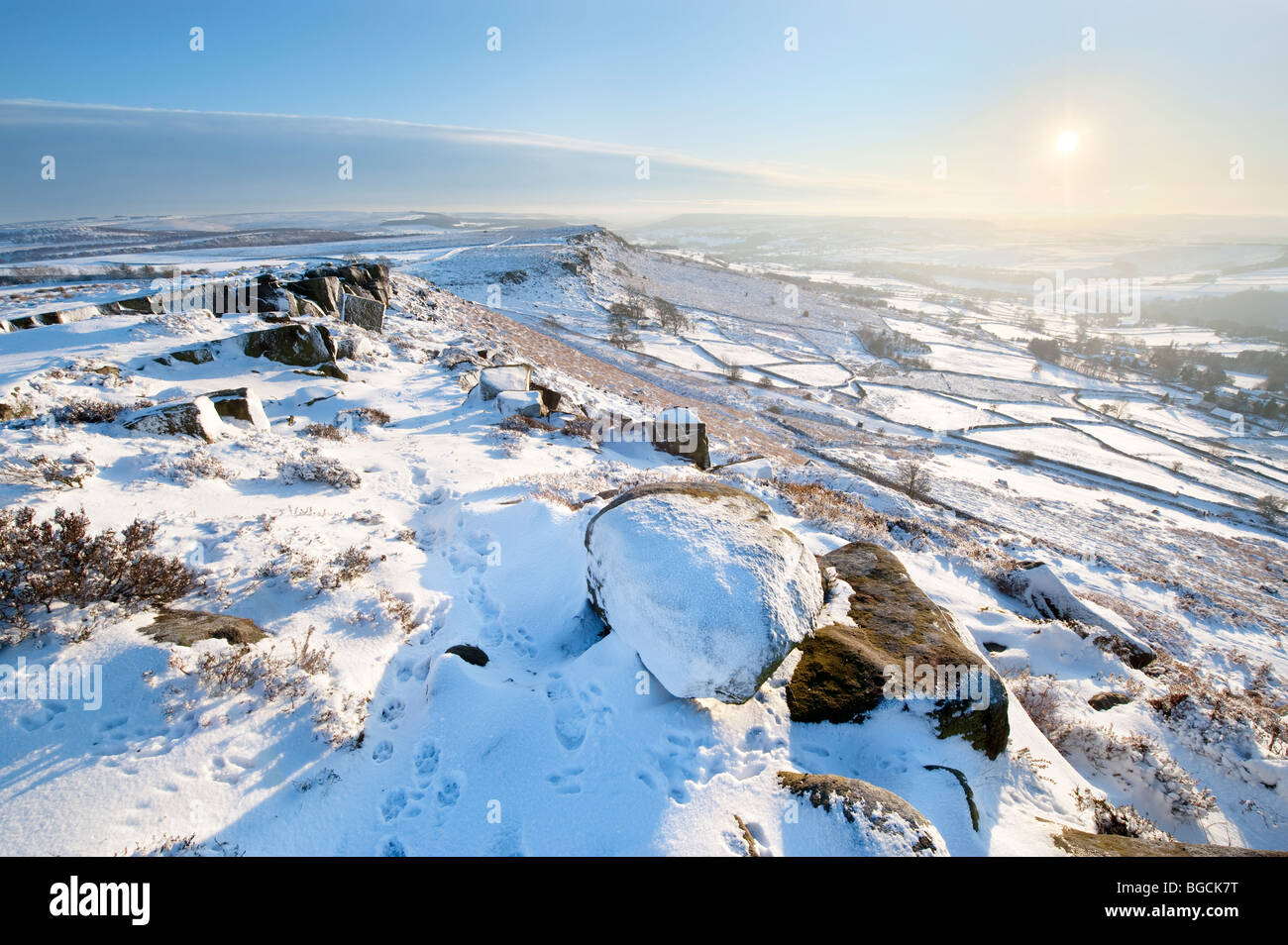 Winter Snow at Curbar Edge in the 'Peak District', Derbyshire, United Kingdom, Great Britain - Stock Image