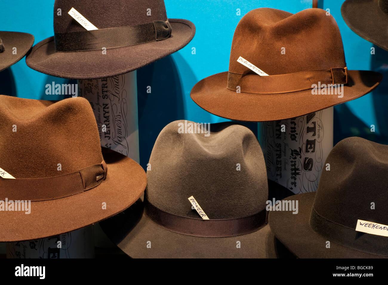 Gentelmans Trilby hats, London, UK - Stock Image