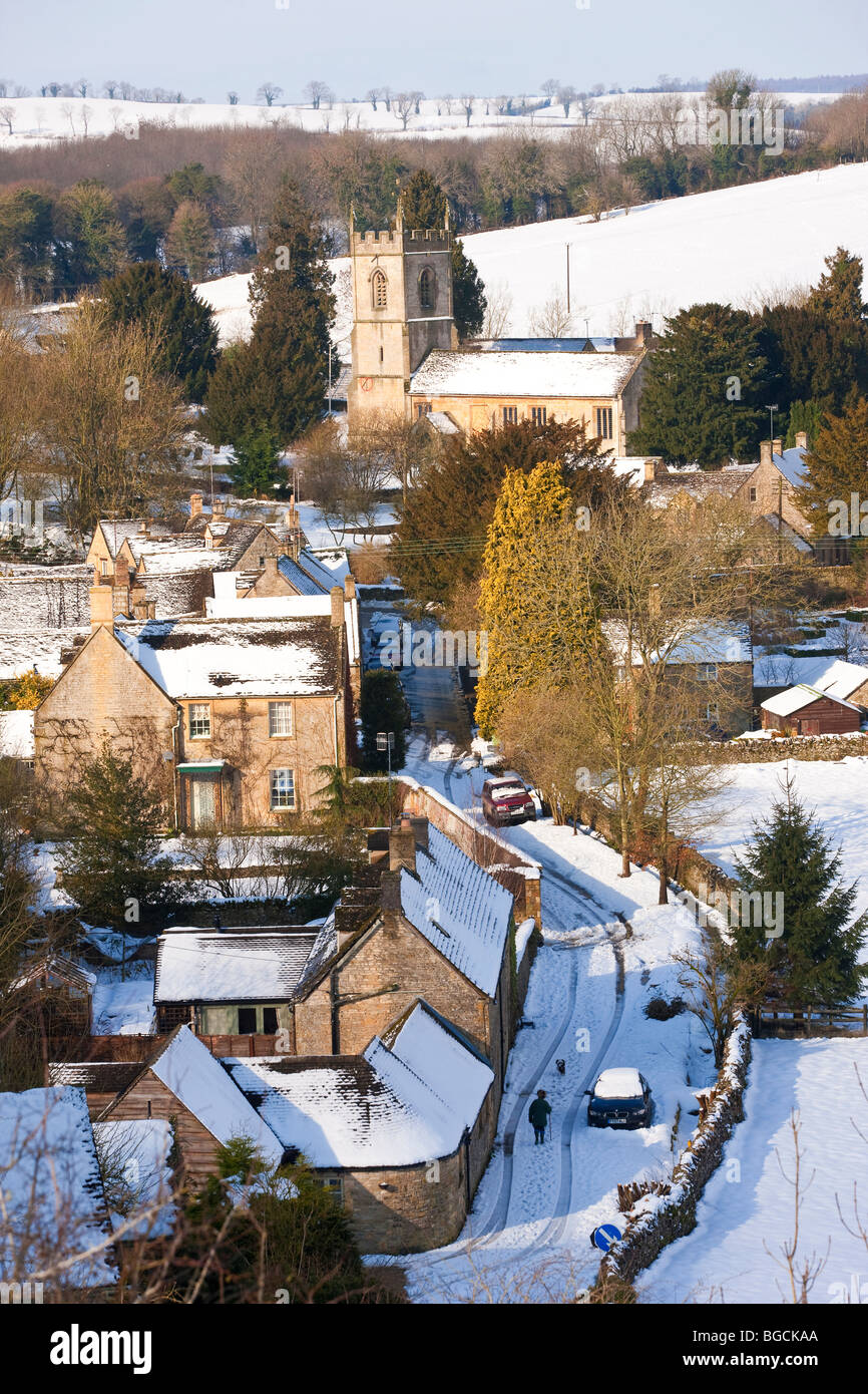Naunton village in the snow, nr Stow On The Wold, Gloucestershire, UK Stock Photo