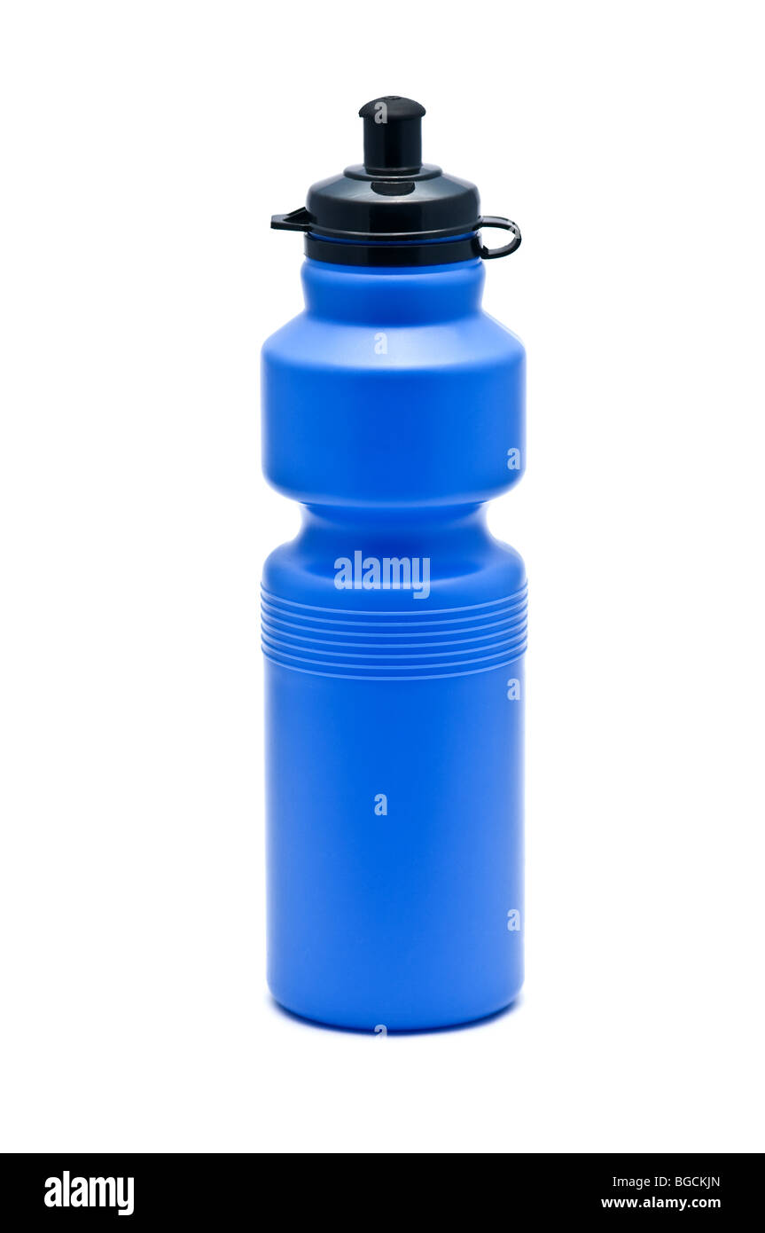 blue water bottle isolated - Stock Image