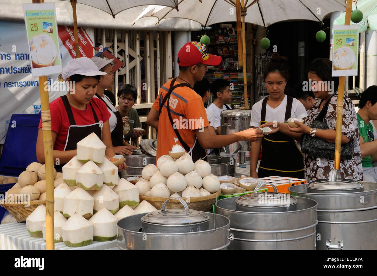 Thailand; Bangkok; Chatuchak Weekend Market; Coconut Stall - Stock Image