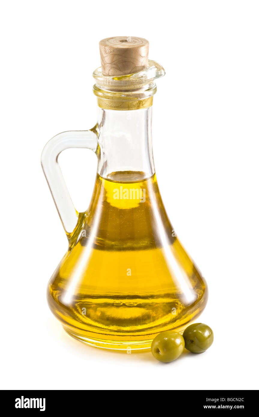 olive bottle isolated - Stock Image