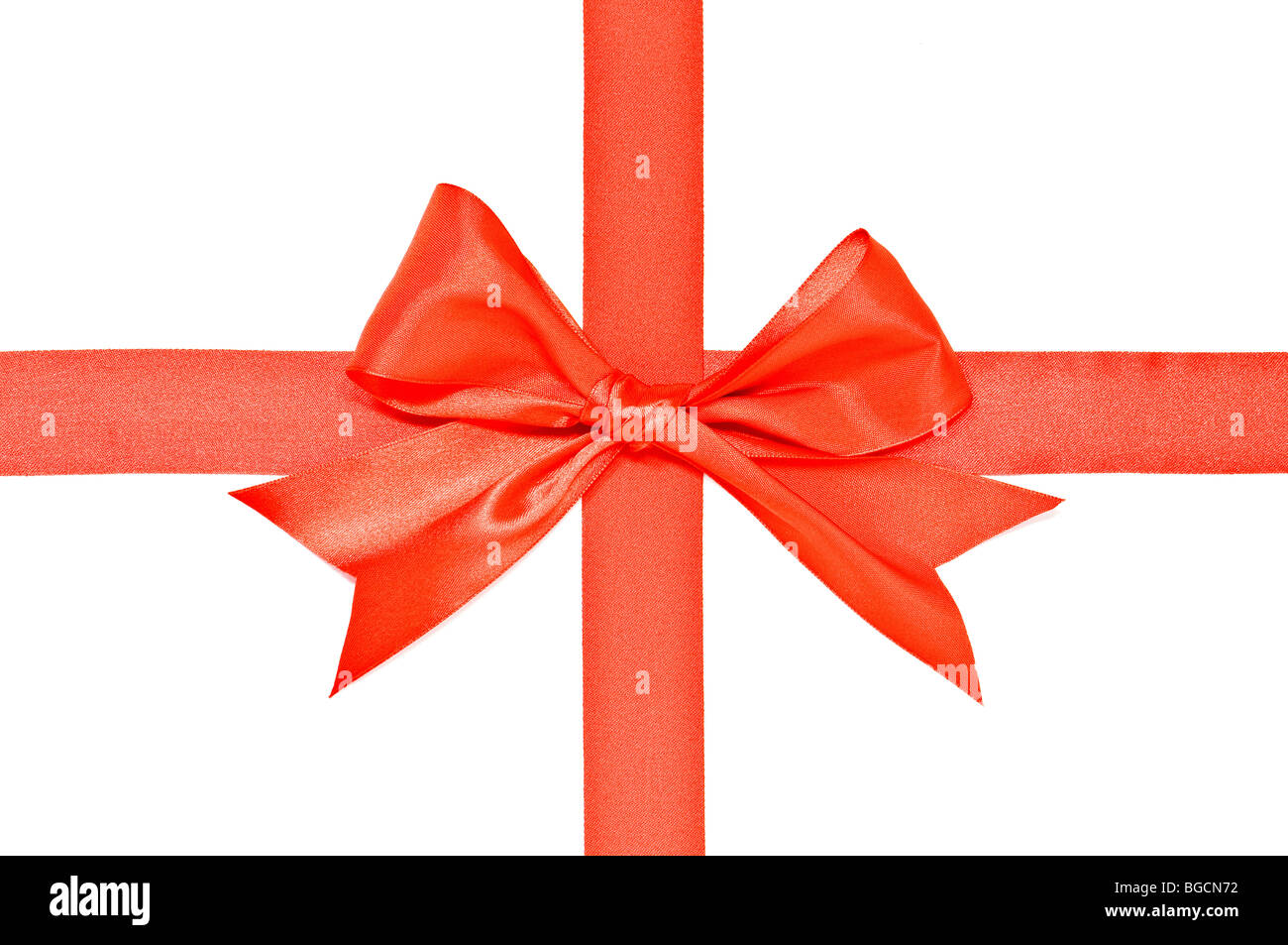 red ribbon with bow - Stock Image