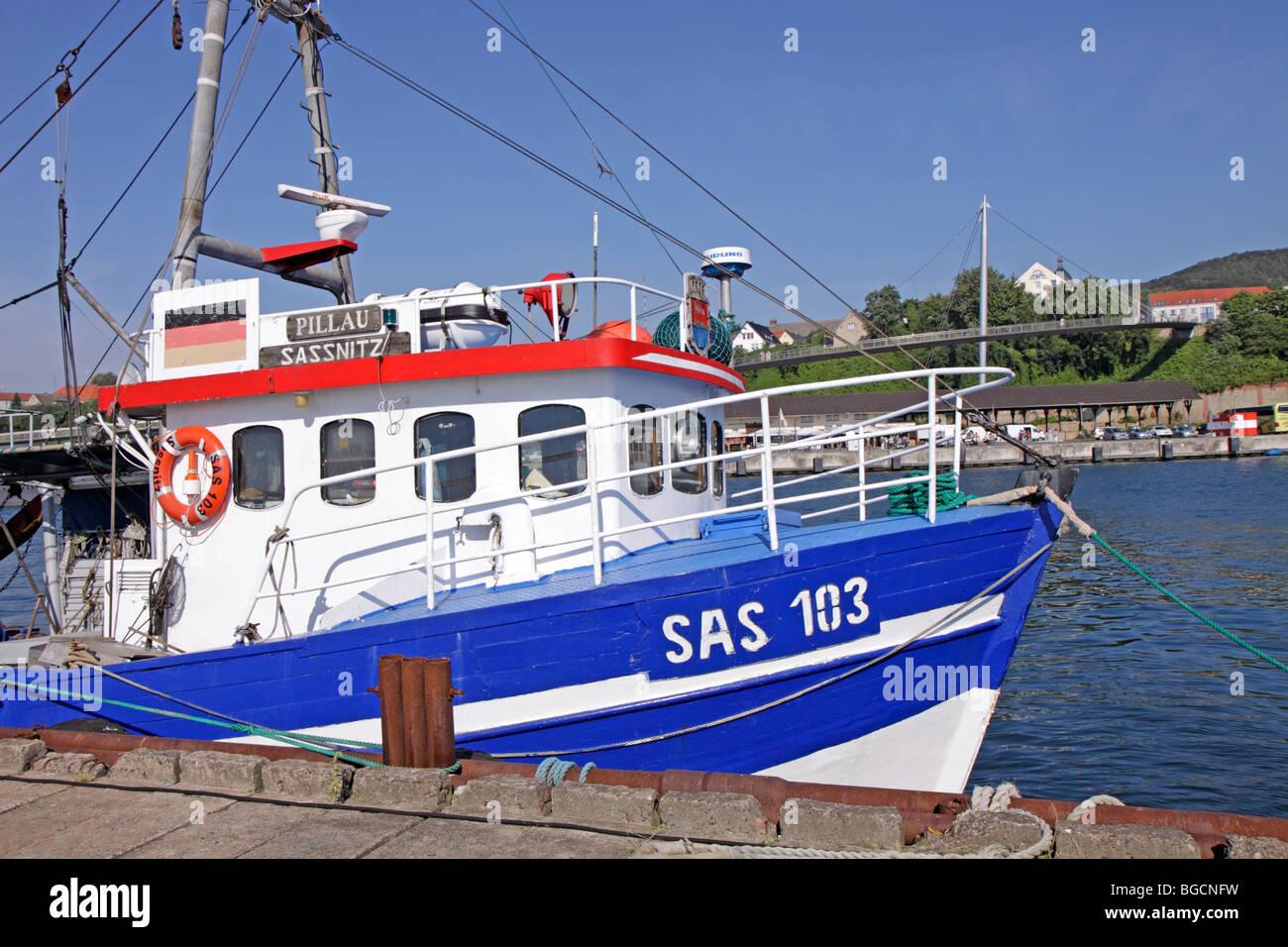 fishing smack at the harbour of Sassnitz, Ruegen Island, Mecklenburg-West Pomerania, Germany - Stock Image