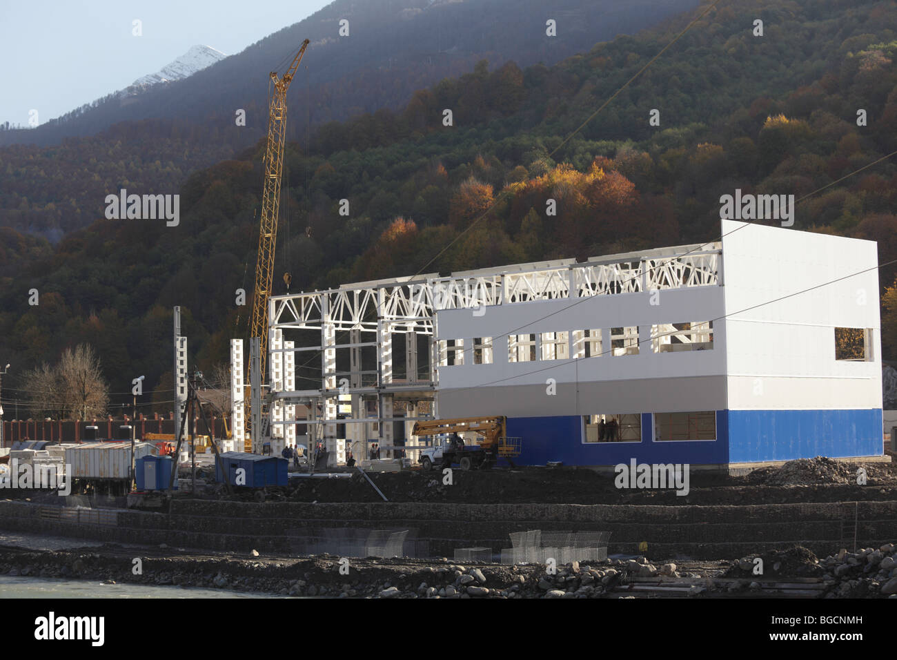 Construction of Olympic venues in Sochi, Russia - Stock Image