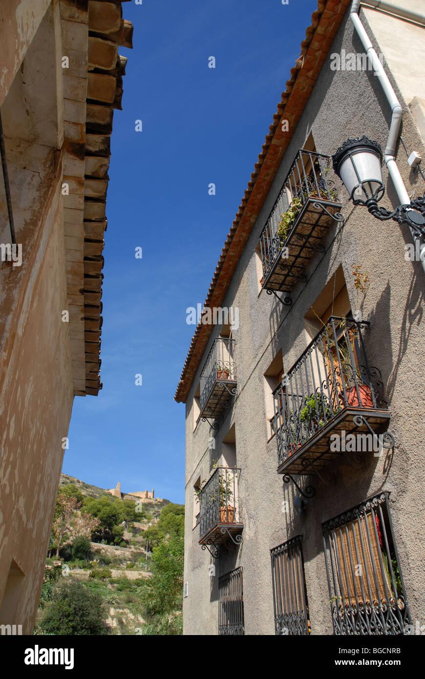 village houses and ruined castle of Relleu, Alicante Province, Comunidad Valenciana, Spain - Stock Image
