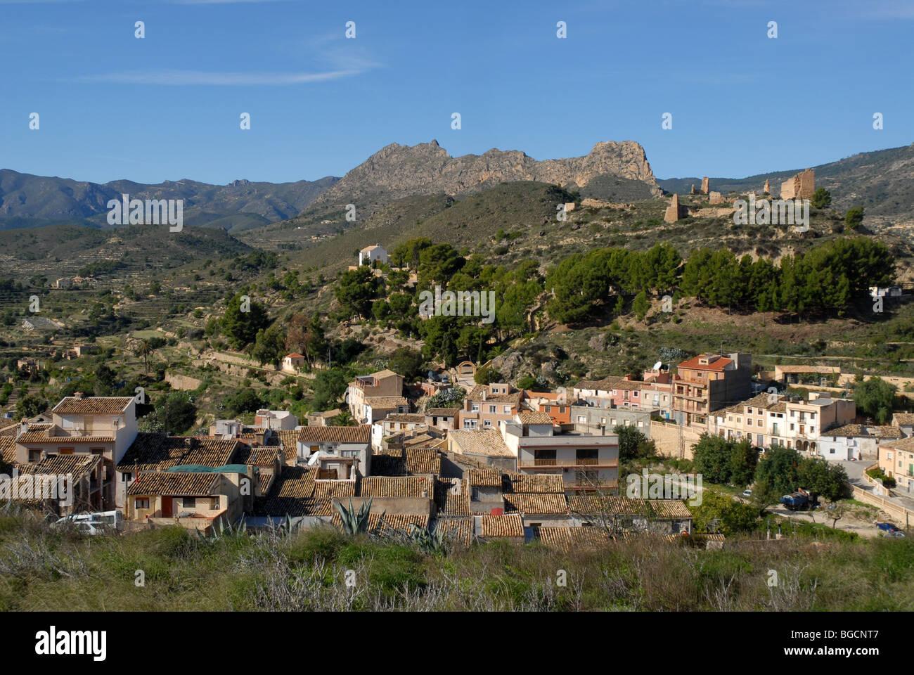 village and ruined castle of Relleu, Alicante Province, Comunidad Valenciana, Spain - Stock Image