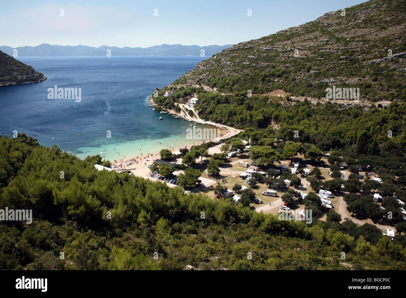 Croatia Adriatic coast. Tourist camp in Prapratno bay. - Stock Image
