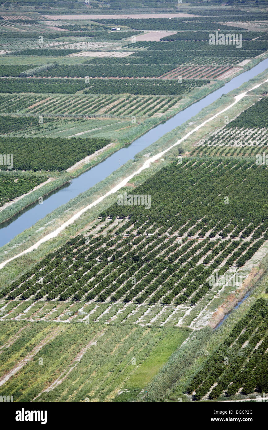 Areal view of drainage agricultural soil and irrigation system canals in Neratva River Estuary Croatia - Stock Image