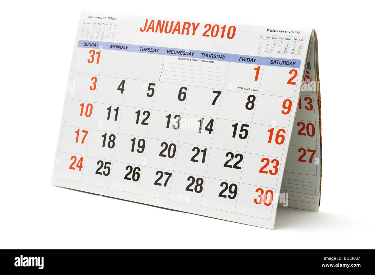 2010 calendar showing January page on white background - Stock Image