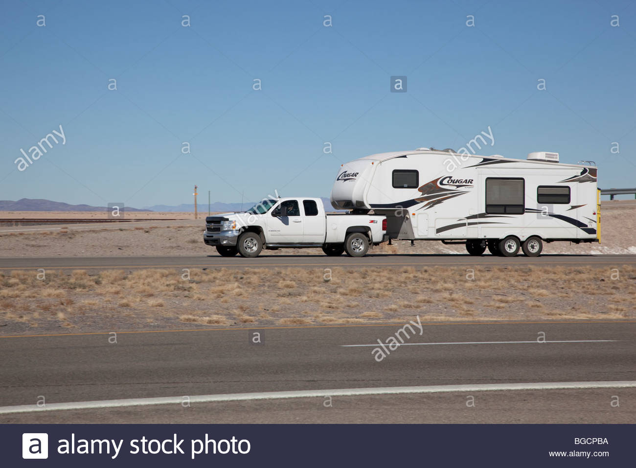 Pickup Truck Pulling Travel Trailer Fifth Wheel New Mexico