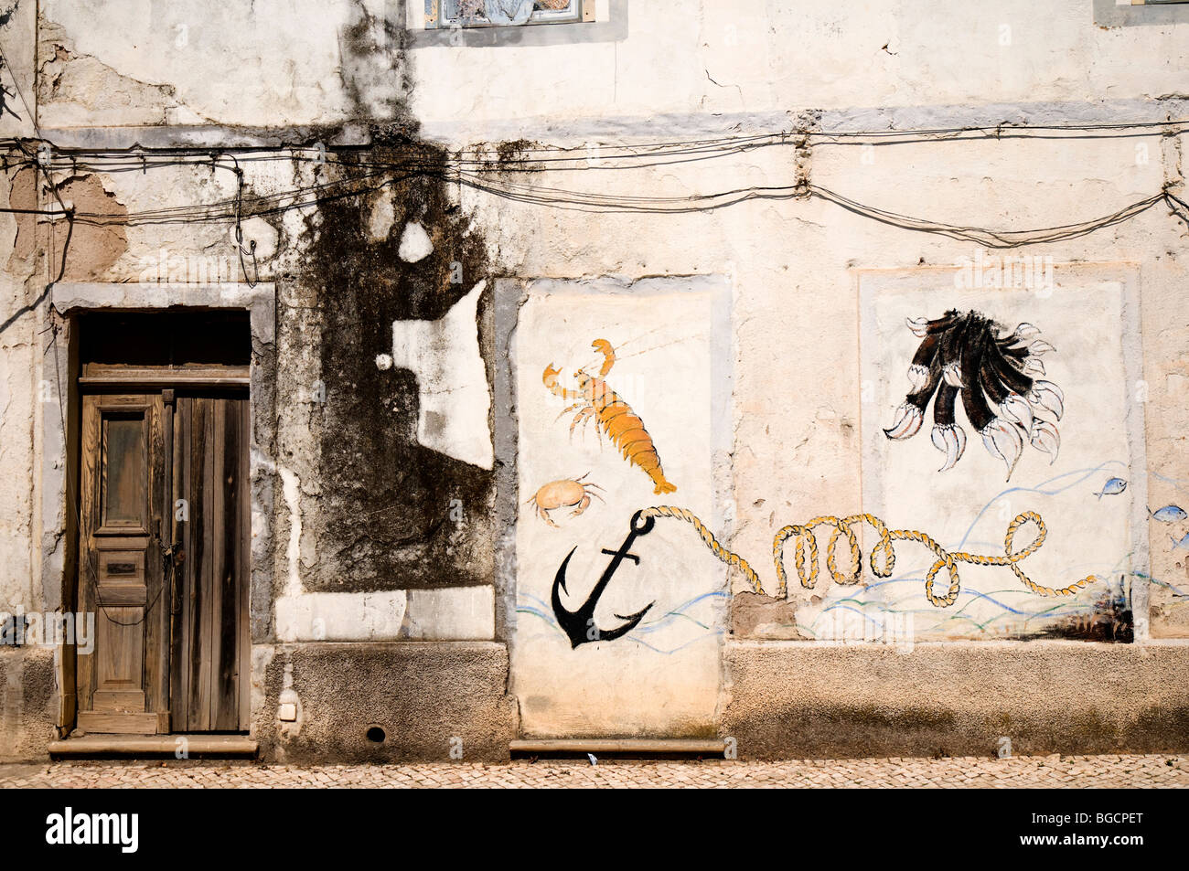 Mural in Old Building - Aljezar Portugal - Stock Image