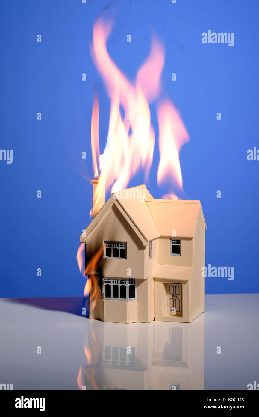 House on fire - Stock Image