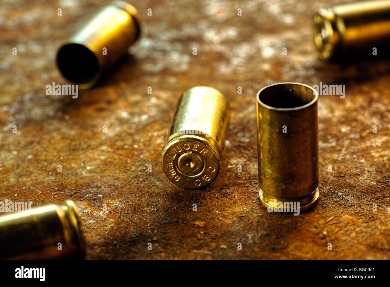 9mm cartridge casings - Stock Image
